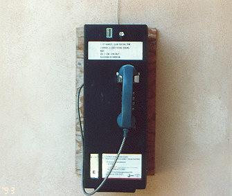 "Note carefully the marine cut plywood.  I saw some in free standing booths.  There also appear to be two varients of the phone, both built by Northern Telecom, but one say BaTelCo on the top.</BR>Sent in by: Nameless One</BR><span class=""date-display-single"" property=""dc:date"" datatype=""xsd:dateTime"" content=""1993-08-19T00:00:00+00:00"">Aug 19, 1993</span>"